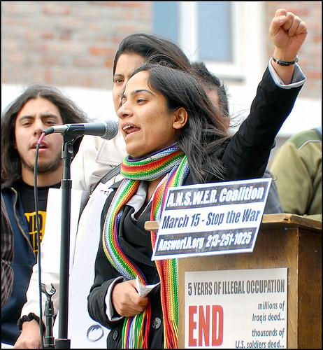 Foto más reciente de Malalai en un mitin en Washington